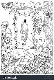 Princess Zentangle Riding On A Swing Garden Flowers Birds In Tree Adult Coloring PagesAdult Colouring InColoring SheetsColoring BooksColouring
