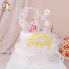 schöne frau mädchen krone spitze blume acryl rosa kuchen