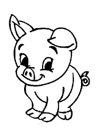 Baby Pig Animal Coloring Page