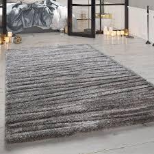 wohnzimmer teppich shaggy hochflor meliert grau