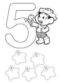 Kids Learn Number 5 Coloring Page