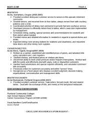 Waiter Resume Example Waitress Samples Resumes Food Service Server Professional Sample For