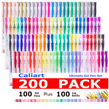 Amazon Caliart 200 Gel Pens For Adult Coloring Books 100 Count Plus Refills Pack06 10 Mm With Glitter And Metallic Neon