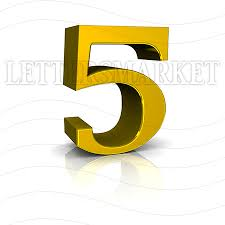 LettersMarket 3D Gold Number 5 isolated on a white background
