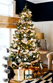 Christmas Tree With Ribbon Pine Cones Snowflakes Simple Neutral Rustic