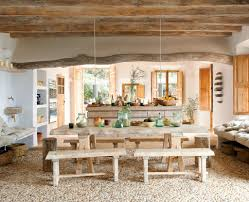 Rustic Coastal Dining Room Design With Long Table And Wooden Bench