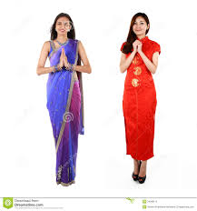indian and chinese woman in traditional clothing royalty free