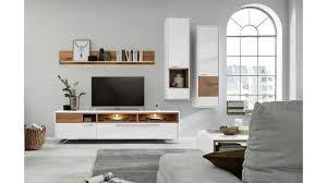 interliving wohnzimmer serie 2102 wohnkombination 510802m mit beleuchtung helles asteiche furnier weißer mattlack vi