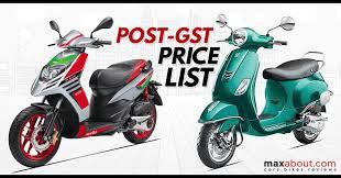 Post GST Price List Of Aprilia Vespa Scooters