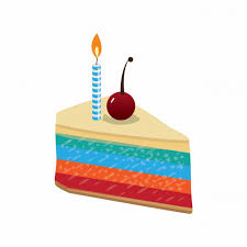 Slice of birthday cake with beautiful cherry garnish and candles vector illustration Free Vector
