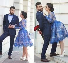 blue lace knee length long sleeve homecoming dresses custom make