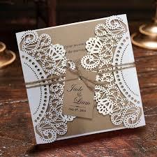 White Rustic Wedding Invitation Cards Customized Kraft Invitations