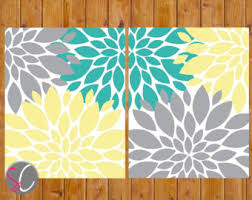 grey yellow teal etsy