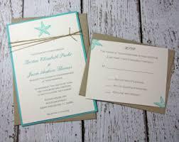 Teal Starfish Wedding Invitations Beach Invitation Summer DEPOSIT