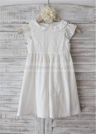 peter pan collar ivory cotton knee length flower dress