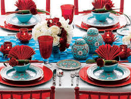 Red And Blue Table Settings