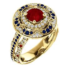 Angled View 18k Gold Ruby Sapphire And Diamond Ring Vintage Style