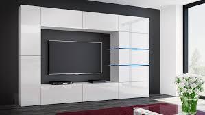 wohnwand shadow weiß hochglanz weiß 285 cm mediawand anbauwand medienwand design modern led beleuchtung mdf hochglanz stehend tv wand