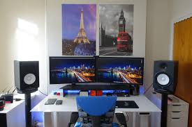 Dual Monitor Stand Up Desk by Dual 4k Video Production Sit Stand Station Battlestations