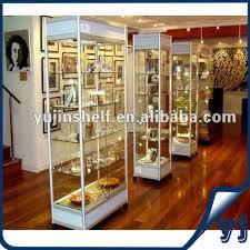 guangzhou yujin shelf display white color lighted modern glass
