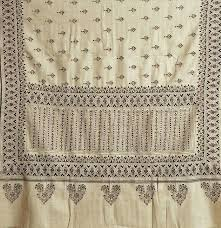 beige ladies shawl with kantha stitch embroidery