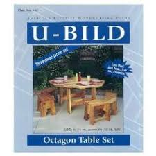 octagonal picnic table with different shades of wood tables