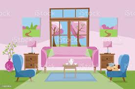 wohnzimmer in rosa grün blau farben rosa sofa mit tisch nachttisch gemälde len teppich porzellanset weiche stühle im zimmer mit großem fenster