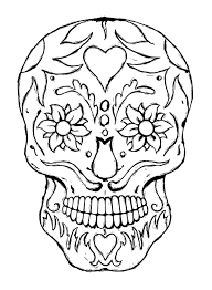 Day Of The Dead Skull Coloring Pages Printable Book Michaels Online Full Size