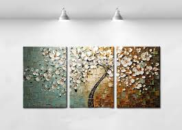 Panels Prints Three Canvas Wall Art Painting Tree Home Decor Textured Knife Flower Picture White Abstract Modern