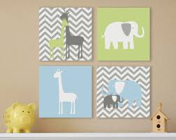 Wall Art Design Kids Canvas Grey White Green Blue Chevron Pattern Cute Giraffe