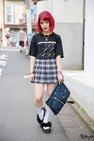 Harajuku Fashion Blogger W Fuchsia Hair American Apparel Plaid Skirt Justin Davis