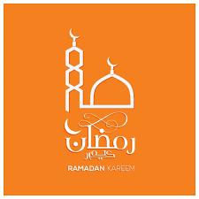 Ramadan Kareem Design With Mosque On Orange Background Free Vector