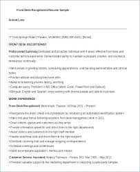 Receptionist Resume Sample Front Desk Office
