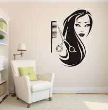 Girl Comb Scissors Hairdressing Salon Beauty Wall Sticker Home Art Design Interior Vinyl Stickers Livign Room