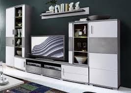 jam wohnzimmer komplettset inkl led beleuchtung weiß grau