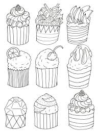 Free Coloring Page Simple Cupcakes By Olivier Cup Cakes Drawing