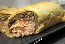 cuisiner cepes frais feuilleté de saumon frais duxelle de chignons perles et