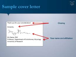 Sample Cover Letter Closing Your Name And Affiliation