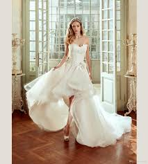2017 Nicole High Low Wedding Dresses With Detachable Train Sweetheart Neck A Line Lace Appliqued Bridal Gowns Tulle Dress