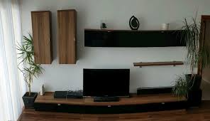 wohnwand tv schrank wohnzimmer nussbaum glas schwarz