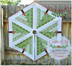 72 Inch Christmas Tree Skirt Pattern by Quiltscapes Comfort U0026 Joy Fabric Tour Log Cabin Tree Christmas