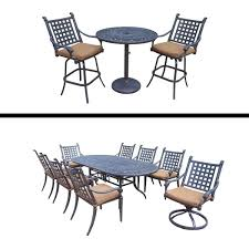 9 Pc Dining Set With 6 Chairs 2 Swivel Rockers And 3 Bar