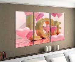 leinwandbild 3 tlg text 3d blumen rosa herz herzen liebe schlafzimmer bild bilder leinwand leinwandbilder holz wandbild mehrteilig 9w227