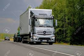 KOSKI TL, FINLAND - AUGUST 7, 2014: Mercedes-Benz Antos Truck ...