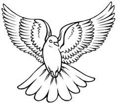 Black Outline Flying Dove Tattoo Design