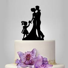 Bride Groom Silhouette Wedding Cake Topper Acrylic Decoration Family With Little Girl Funny Unique 2458256