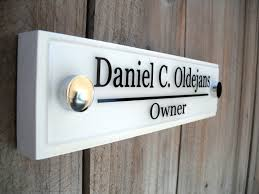 fice Door Wooden Plaque with Acrylic Name Plate Personalized