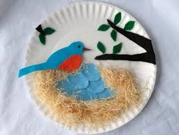 Blue Bird Nest Idea I Think Will Use An Embroidery Hoop With Fabric Instead Paper Plate CraftsPaper