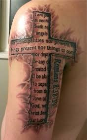 Bible Quote In Cross Tattoo On Left Half Sleeve