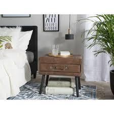nachttisch braun kunstleder kiefernholz 46 x 50 x 35 cm modern lustig koffer optik schlafzimmer